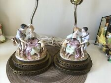 Vintage couple lovers lamps with animals Meissen style porcelain Victorian
