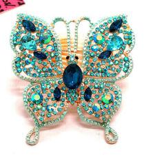 Blue Bling Rhinestone Flower Butterfly Betsey Johnson Charm Brooch Pin Gifts