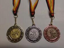 Schützen Pistole Pokal Kids Medaillen 50mm 3er Set Deutschland-Bändern Turnier Pokale & Preise