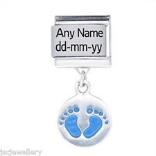 Silver Baby Boy NAME DATE Personalised Daisy Italian charm fit classic bracelet