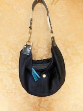 Coach 117 Weekend Hampton Black Sateen Small Hobo Purse Shoulder Handbag