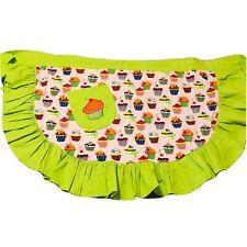 Cupcake Waist Apron Green Pink 1 Pocket Fun Large