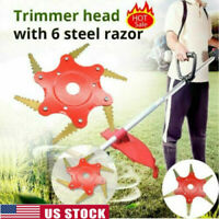 6 Steel Trimmer Head Blades Razors 65Mn Brush Cutter Lawn Mower Grass Weed Acces
