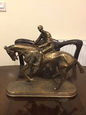 O Tupton Signed Bronze Resin Race Horse And Jockey