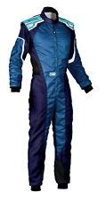 Omp Ks-3 Suit Navy Blue / Cyan Go Karting Racing Overall Cik 3 Layers 2019