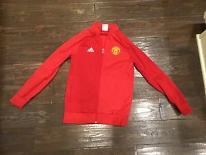 ADIDAS Manchester United YOUTH Boys Size M Red Full Zip Knit Jacket Soccer Track