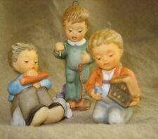 Lot 3 Hummel Goebel Boy Christmas Ornaments - Stringing Cranberries/Nativity/Dog
