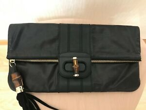 Authentic Gucci Bamboo tassel clutch handbag