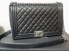 .Auth 2019 Chanel Large Le Boy Black Calfskin & Ruthenium Handbag + Box & Card