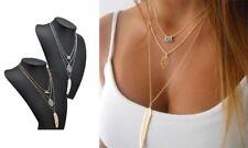 Moda 3 Lunghezze Collana Perline Foglia Piuma Ciondolo Catenina Regalo Ideale UK