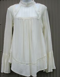 Taylor & Sage Women's M Tunic Blouse Ivory Victorian Gothic Steampunk