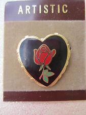 80's Brooch Pin cloisonne Heart