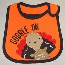 """Carter's Unisex Thanksgiving Baby Bib """"Gobble On"""" One Size NWT"""
