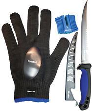 Mustad KVD 5pc Fish Filleting Knife Set Fishing Knives , Sharpener & Glove