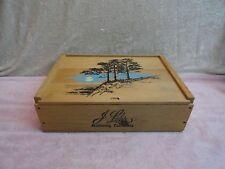 J LOHR MONTEREY CALIFORNIA PEBBLE BEACH WOOD WINE BOX  SLIDE LID GREAT CONDITION