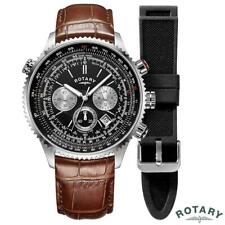 Rotary Interchangeable Leather Gents Pilot Watch GS00100/04/KIT 2 Straps BOXED