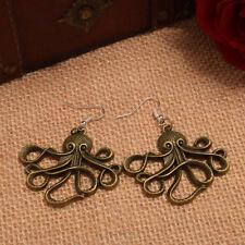 Steampunk Octopus Nautical Pirate Earrings Fancy Dress Bronze Ear Hook Alloy