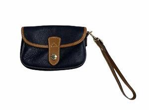 Dooney & Bourke Signature Flap Wristlet Bag Purse Pebbled Navy Leather Tan