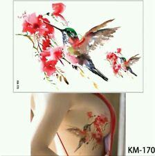 SALE ❤ HUMMINGBIRDS Temporary Tattoos UK A5 Body Art Adults Tattoo Red Flower ❤