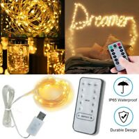 LED String Fairy Lights Wedding Xmas Party Home Decor Lamp+Remote Control 10m