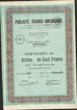 RARE => PUBLICITÉ FRANCO-AMÉRICAINE (USA) (W)