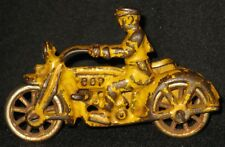 ANTIQUE CAST METAL TOY 'COP' MOTORCYCLE w/SIDE CAR EARLY 1900's SPOKE WHEELS