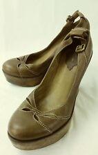 Schutz Womens Shoes Wedge EU 38 Brown Leather Wood Heel Buckle Slip-on 4604