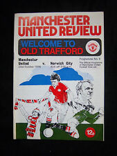 Orig.PRG   England 1.Division  1976/77  MANCHESTER UNITED FC - NORWICH CITY FC !