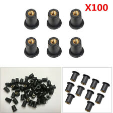 100x M5 5mm Rubber Metric Motorcycle Windshield Well Nut For Honda Yamaha Suzuki