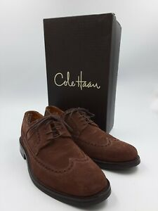 COLE HAAN Mens Suede Leather Dress Shoes Wingtip Oxfords Air Soles w/ Box 11M US