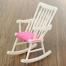 Miniature Rocking Chair Dollhouse Nursery Furniture Accessories Home White Pink
