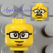 NEW Lego Police Agent MINIFIG HEAD Movie Boy w/Black Rimmed Eye Glasses & Smile