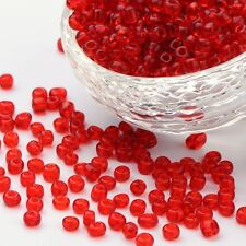 50g 6/0 Winzige Glasperlen Rocailles Perlen transparent 4mm Rund Rot