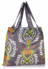 Grey OPULENT Shopping or Beach Bag & Pouch FOLD Roll UP Eco Reusable Tote LOQI