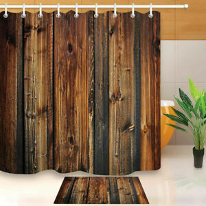Fabric Rustic Wood Shower Curtain 3D Print Waterproof Mildewproof Bathroom