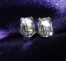 6MM x 4MM EMERALD CUT AQUAMARINE EARRINGS-- 1.00CTW -- .925 STERLING SILVER