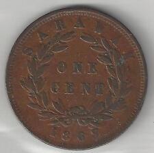 SARAWAK, 1863, CENT, J. BROOKE, RAJAH,  CHOICE EXTRA FINE, KM#3
