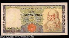 ITALY 50000 50,000 LIRA P99 1967-1972 LEONARDO DA VINCI CURRENCY MONEY NOTE EURO