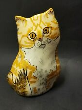 Cats by Nina Lyman Orange Tabby Cat Vase Excellent Preowned