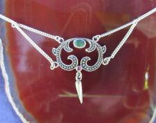 collar cadena estilo moderno elementos con Malaquita Verde Plata Esterlina 925