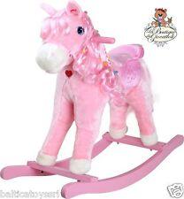 Cavallo a dondolo rosa con luci e suoni