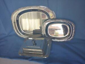 CROMARGAN 3tlg Servierset, 2 Servierplatten, Butterdose mit Glaseinsatz
