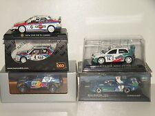 Lot of 5 1:43 scale rallye + Le Mans cars / Lancia Delta, VW Touareg, Alfa