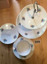 Beautiful Elegant Floral 2-Tier Hostess Cake Stand & Teacup + Two Saucers (M&S)