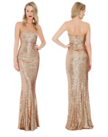 Goddiva Champagne Gold Sequin Strapless Sweetheart Evening Maxi Dress Party