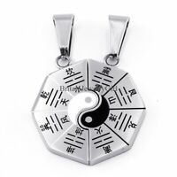 2pcs Stainless Steel Men Women Yin Yang Ba Gua Tai Chi Pendant Couple Necklaces