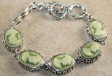 Silver Vintage Style Green Cameo Beauty Girl Cameo Oval Bracelet WB11201