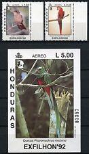 Honduras 1992 Vögel Birds Uccelli Oiseaux 1161-62 + Block 54 ** MNH