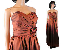 Strapless Bridesmaid Dress M Long Copper Brown Taffeta Evening Gown Prom Dress