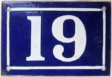 Old blue French house number 19 door gate plate plaque enamel metal sign c1950